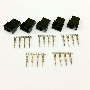 PK OF 5 - MALE 4 PIN FAN POWER CONNECTOR - BLACK INC PINS