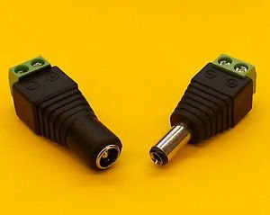 MATCHING SET OF MALE & FEMALE 2.1MM X 5.5MM DC POWER CONNECTORS for CCTV/REPAIRS