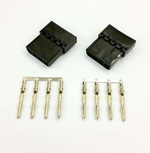 PK OF 2 - 4 PIN MOLEX PC PSU POWER CONNECTOR PASSTHRU MALE/FEMALE-BLACK INC PINS