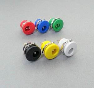 PLUGZ2GO 2.1MM X 5.5MM PANEL MOUNT DC PLUG SOCKET JACK - CHOICE OF COLOUR