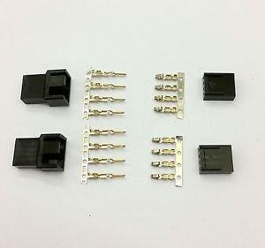 MALE & FEMALE 4 PIN PC FAN LED POWER CONNECTORS - 2 OF EACH- BLACK INC PINS