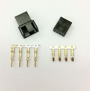 MALE & FEMALE 4 PIN PC FAN LED POWER CONNECTORS - 1 OF EACH- BLACK INC PINS