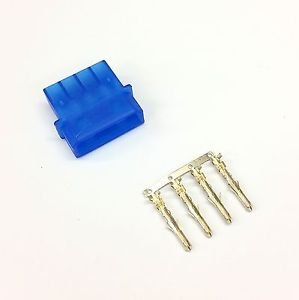 PK OF 5 - MALE 4 PIN MOLEX PC PSU POWER SUPPLY CONNECTOR - BLUE INC PINS