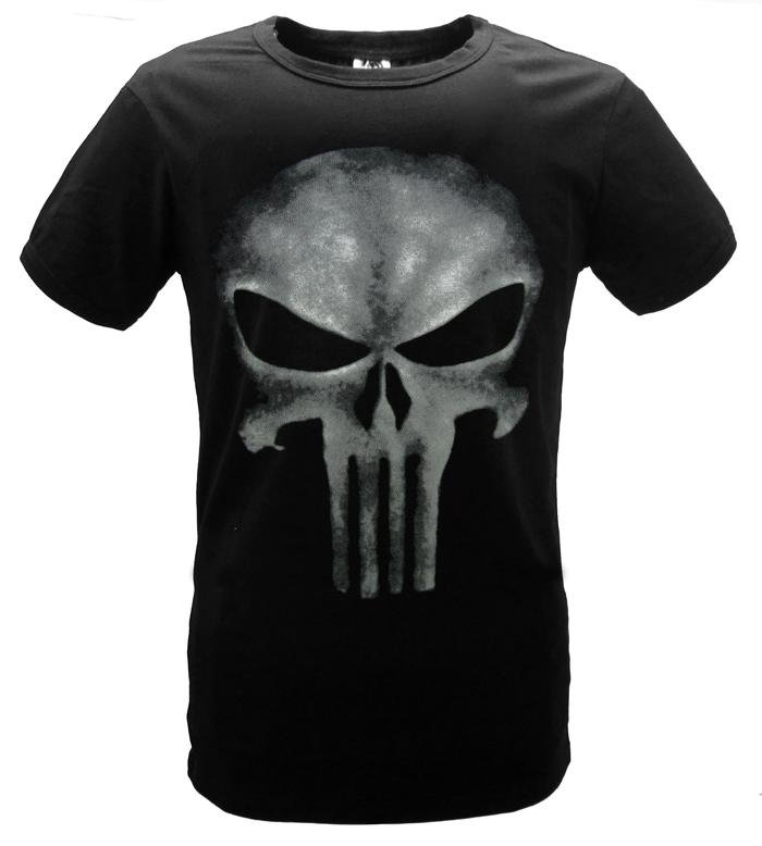 The Punisher T-shirt Skull Printing Black Fashion Adult Men Short Sleeves Tee Shirt