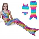 Rainbow Color Dot Set Swimwear Swimsuit Swim Cosplay Costume Kids Girls Swimming Mermaid Tail Bikini