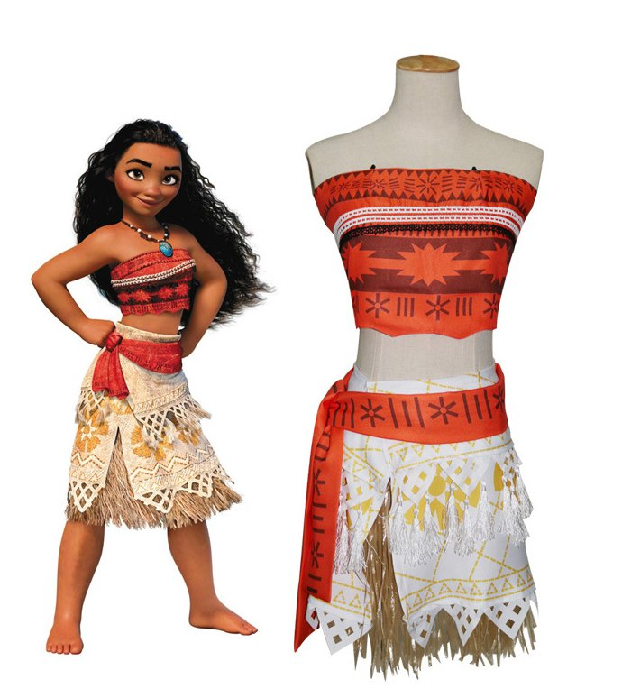 Movie Moana Cosplay Costume Moana Waialiki Girls Cosplay Princess Dress