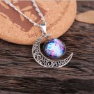 Classic Hot Women fashion Galactic Glass Cabochon Pendant Silver-Tone Crescent Moon Necklace