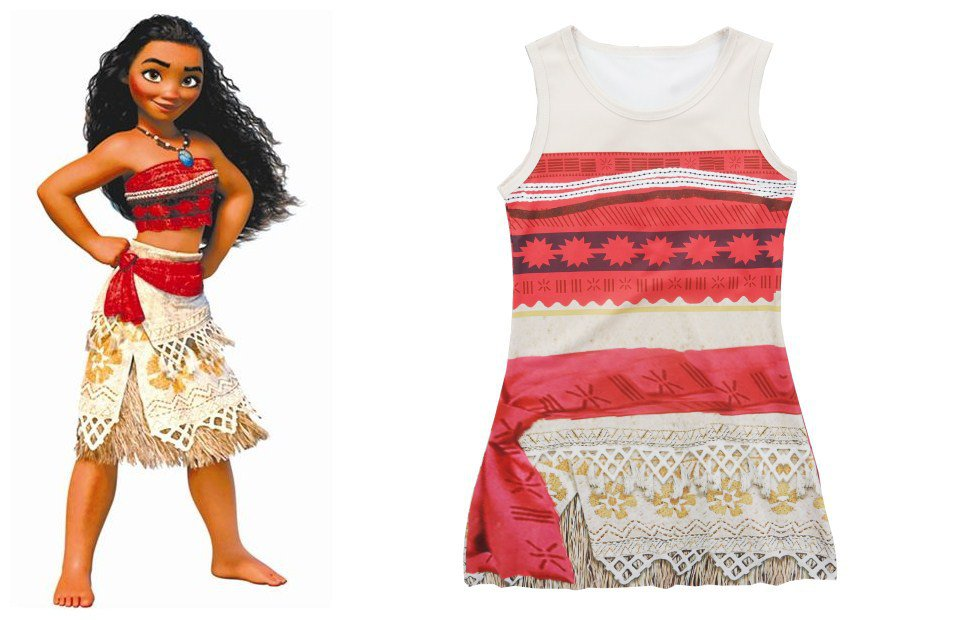 Summer Moana Dress 2017 Brand Children Dresses For Girls Princess Dress Cosplay Clothes