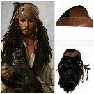 Pirates of the Caribbean Captain Jack Sparrow Cosplay Headwear Hat Hair Moustache Beard Accerrories