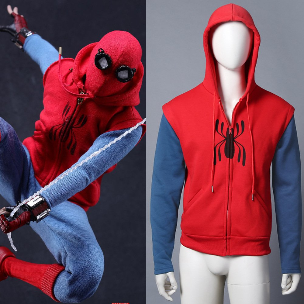 Spider-Man:Homecoming hoodie Cosplay Cotton Sweater men's Hooded SpiderMan zipper Coat