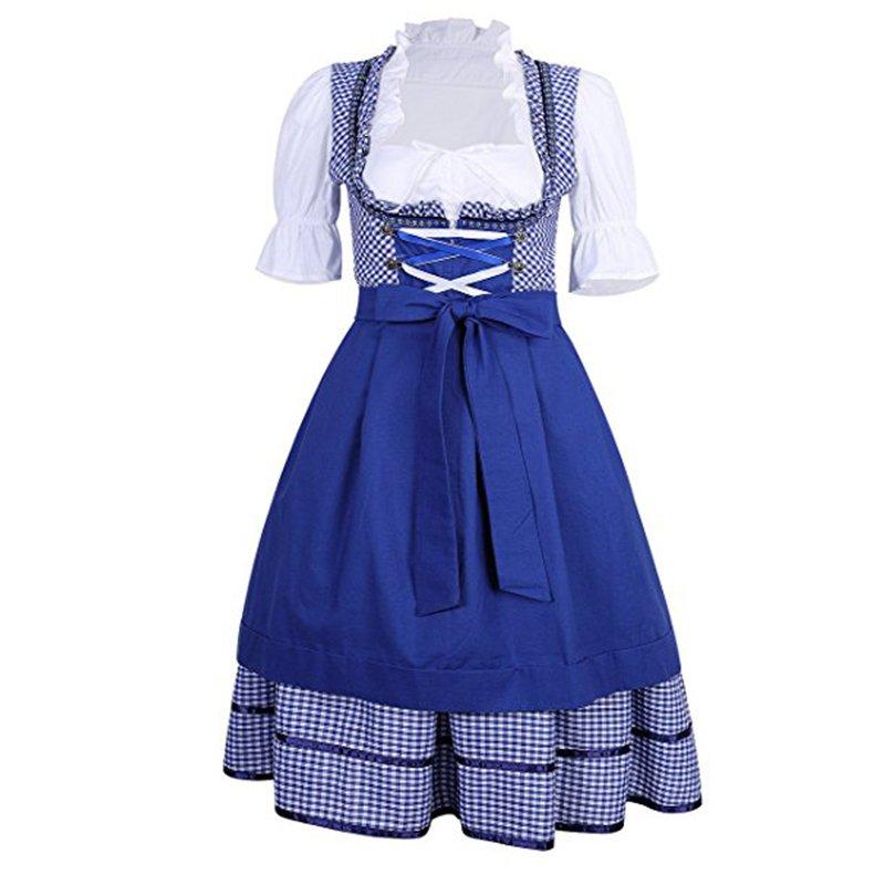 Women's Dirndl Dress Serving Wench Beer Oktoberfest Costume Lolita Mermaid Dress