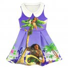 3-9 Years Summer moana Princess Dress Cartoon Baby Girls Dresses Children Pearl Party Clothes