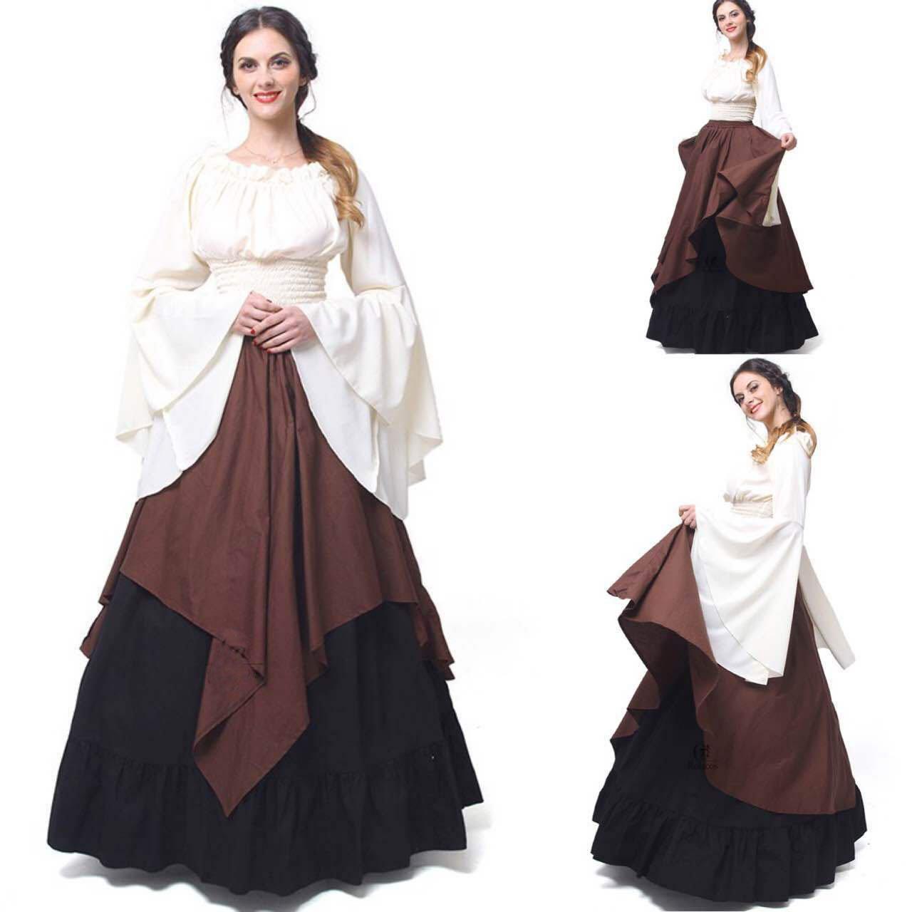 Woman's Retro Dress Renaissance Medieval Long Dresses Gothic Ruffle Skirt Long Evening Dresses