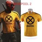 Deadpool 2 Superhero Yellow Slim Short Sleeve Cosplay Mens T-shirts Tee Shirts Costume Halloween