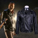 The Walking Dead Negan Black Leather Jackets Cosplay Costume Man Halloween Coat
