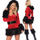 Christmas Adult Women Sexy Hooded Santa Costumes dress Lady  Xmas Outfit