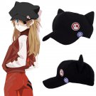 Neon Genesis Evangelion EVA Asuka Langley Soryu Cat Ear Polar Fleece Cosplay Hat Cap Badges