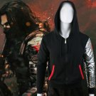 Captain America Winter Soldier Arm Print Hoodie Men Fashion Streetwear Black Zipper Sweatshirt