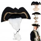 Pirates of the Caribbean Judge Hat Tricorne Europe Court Coplay Hat With White Wig