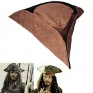 Brown Pirates of The Caribbean Jack Sparrow Tricorn Hat Party Costumes Accessories