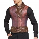 Punk Rock Red Striped Sleeveless Jacket Steampunk Vest Men Corset Waistcoat Gothic Clothing