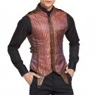 Punk Rock Jacket Red Striped Sleeveless Steampunk Vest Men Corset Waistcoat Gothic Clothing