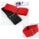 Women Elastic Rivet Waist Belts Simple Decoration Red Wide Waist Belts Match The Skirt