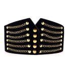Women Fashion Waist Wide Retro Casual Corset Elastic Golden Rivet Waist Wide Belt