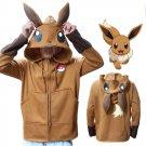 Anime Pokemon Go Eevee Hoodies With Ears For Women Men Cosplay Costume Hoodie Sweatshirt