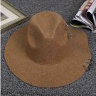 New Fashion Vintage Woolen Unisex Khaki Fedora Hat Woolen Wide Jazz Church Cap Panama Cap