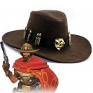 Overwatch Jesse McCree Cosplay Hat  Cowboy Brown Hat Knight Hat Costume Props