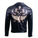The Walking Dead Negan Black Leather Motorcycle jacket Cosplay Costume Men Coat