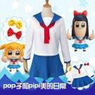 Pop Team Epic Woman Poputepipikku School Uniform Popuko Cosplay Pipimi Costume