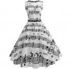 Women One-piece Dress Elegant Splice Printing Expansion Skit Dress