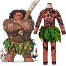 Movie Moana Maui Cosplay Costume Full Sets Halloween BodySuit Sweatshirt+ Pants +Leaves