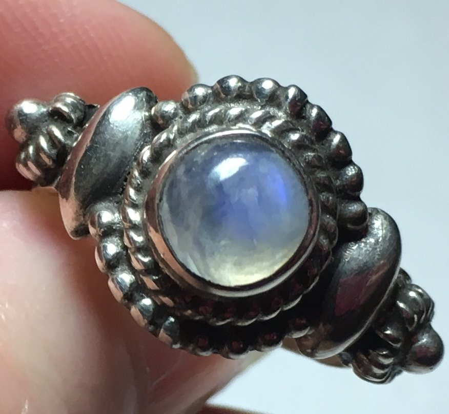 Sterling Silver Handcrafted Rainbow Moonstone (Natural) Ring Sz7-8 #8