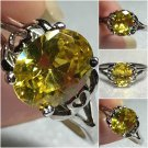 Sterling Silver 9v7mm Oval Yellow Cz Ring Sz 7-9 #4