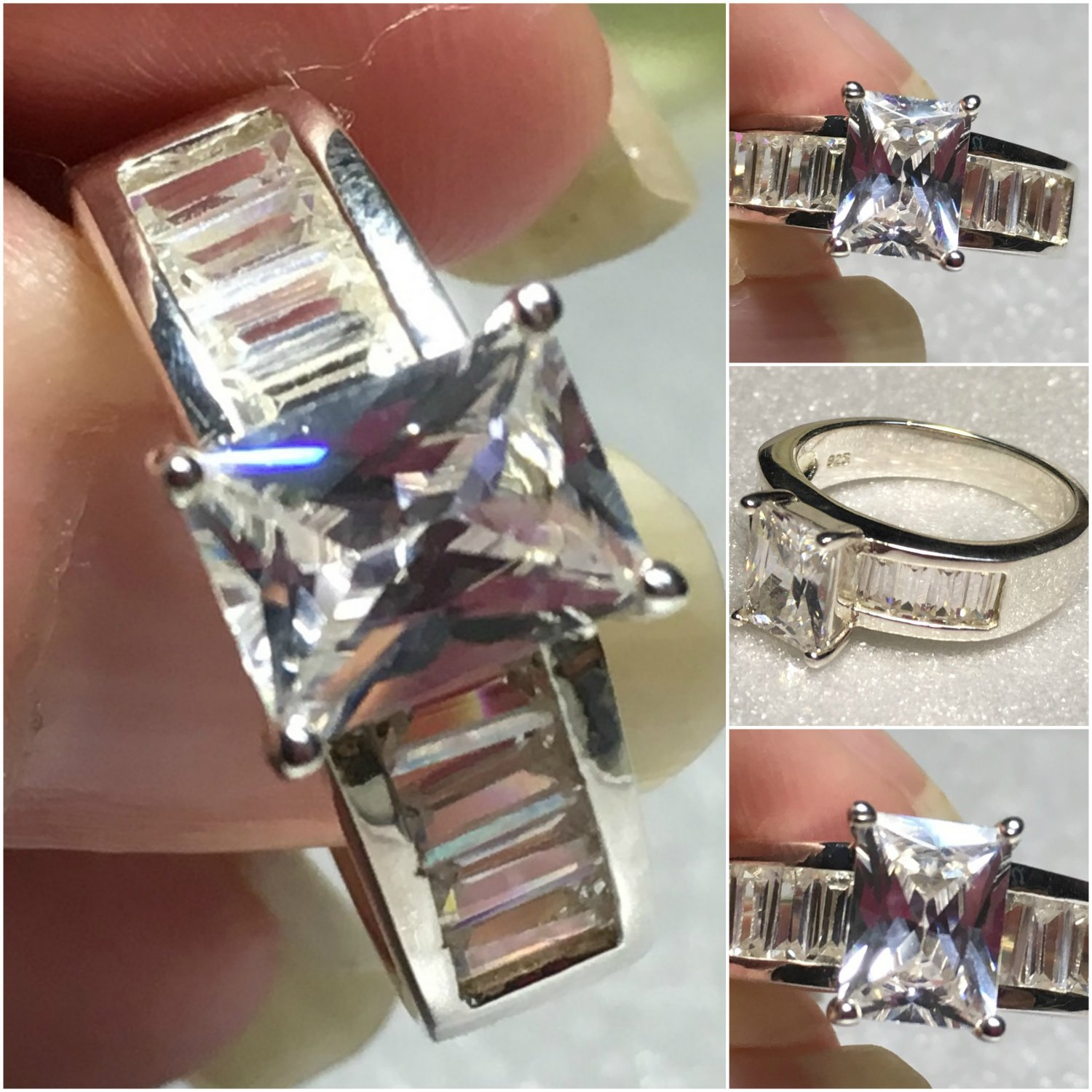 Sterling Silver Baguette Cz Ring Sz 7 #5