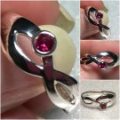 Sterling Silver Created Ruby Ring Sz 7-8 #16