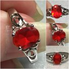 Sterling Silver 8x6mm Oval Dark Orange Cz Ring Sz 7 #22