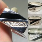 Sterling Silver Gents Onyx/Cz Ring Sz 11 #25