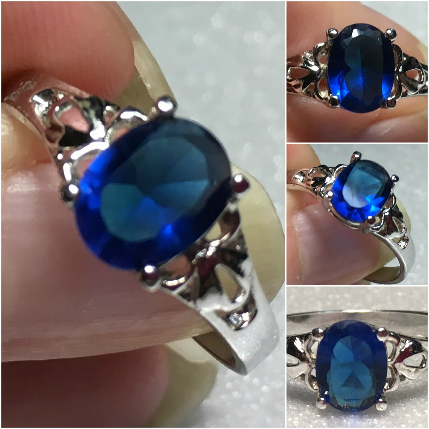 Sterling Silver 8x6mm Oval Blue Cz Ring Sz 7-8 #27