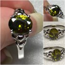 Sterling Silver 9x7mm Oval Olive Cz Ring Sz 8-9 #30
