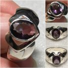 Sterling Silver 9x7mm Oval Created Amethyst Ring Sz 7 #31