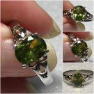 Sterling Silver 8x6mm Oval Olive Green Cz Ring Sz 7 #32