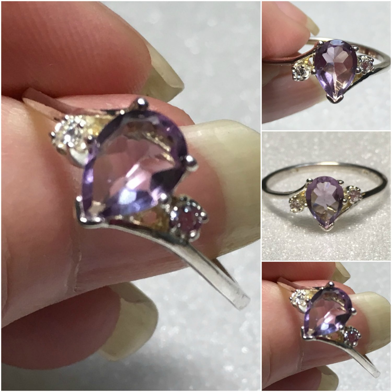 Sterling Silver 8x6mm Natural Pear Amethyst Ring Sz 10 #40