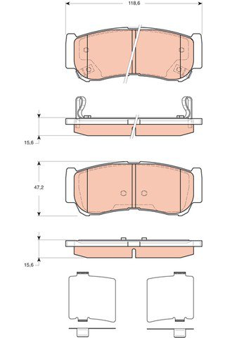 True Ceramic Top Quality Low Dust Brake Pads FitsHyundai Santa Fe -Rear- CRD1297