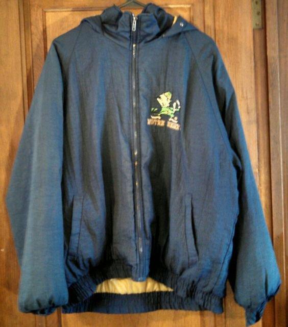 Notre Dame vintage hooded winter starter FANS Gear jacket marked US size L large