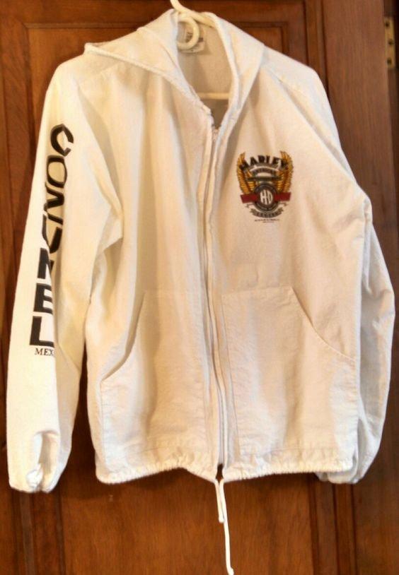 Harley Davidson Cozumel souvenir white cotton hoodie zip front Large US size L