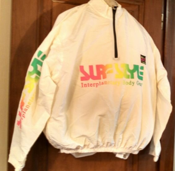 Surf Style white iridescent vintage nylon beach wear pullover One Size Fits All